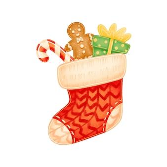 Meia de natal vermelha bonito dos desenhos animados com presentes