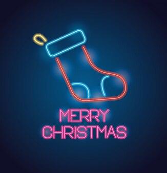 Meia do feliz natal com luzes de néon cartão comemorativo