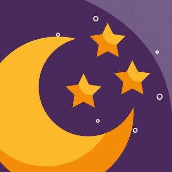 Meia lua e estrelas tempo dos desenhos animados