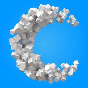 Meia-lua formada por cubos aleatórios