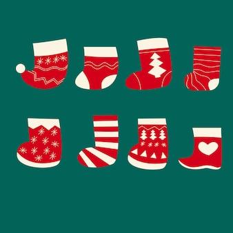 Meias de natal ano novo meias presentes sobre a lareira padrão de inverno ornamento vetor plana