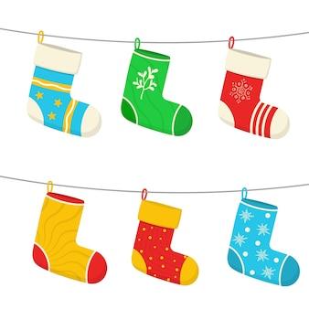 Meias de natal, meias, adesivos de design de ano novo para o natal, pendurados, decorações de natal, presentes