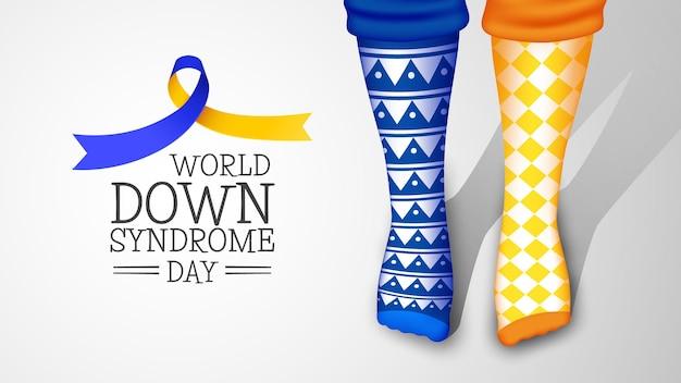 Meias diferentes realistas do dia mundial da síndrome de down
