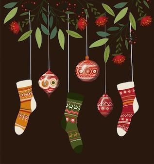 Meias e esferas, feliz natal temporada decoração cartão convite celebração e ilustração de férias