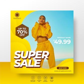 Meias sociais de venda de moda post modelo ou super-edição quadrada de banner