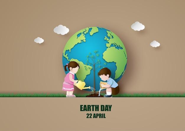Meio ambiente mundial e conceito do dia da terra com menino e menina plantando uma árvore