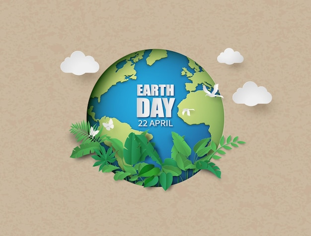 Meio ambiente mundial e conceito do dia da terra, estilo de corte de papel Vetor Premium