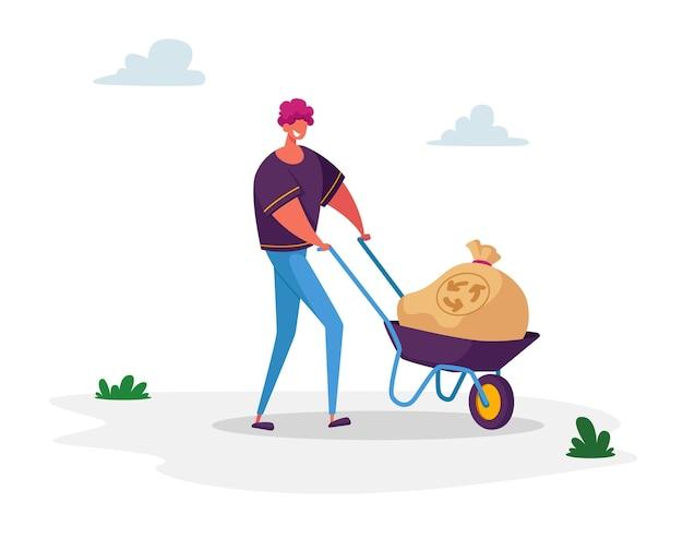 Meio ambiente natureza poluição ecologia proteção aquecimento global reciclagem homem carrega saco de lixo