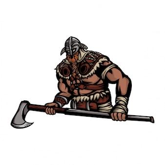 Meio corpo volumoso do guerreiro nórdico com machados