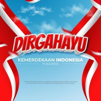 Meio da indonésia do dia da independência de dirgahayu republik indonésia com efeito de texto editável