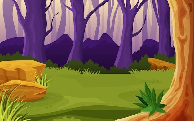 Meio de uma ilustração da natureza da floresta