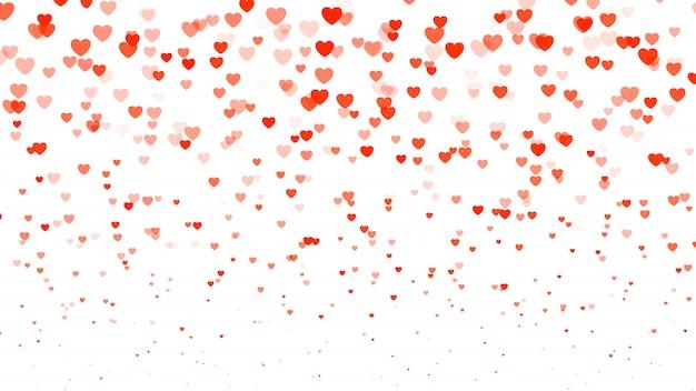 Meio-dia do coração fundo dia dos namorados. corações transparentes vermelhos no branco