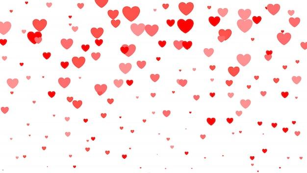 Meio-dia do coração fundo dia dos namorados. corações vermelhos e rosa em branco