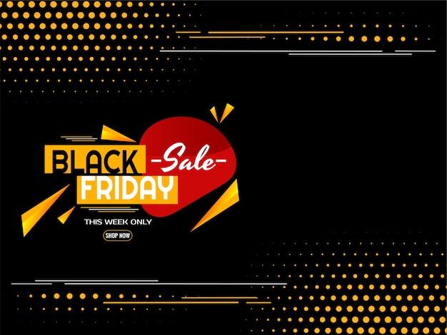 Meio-tom amarelo plano fundo preto de venda na sexta-feira