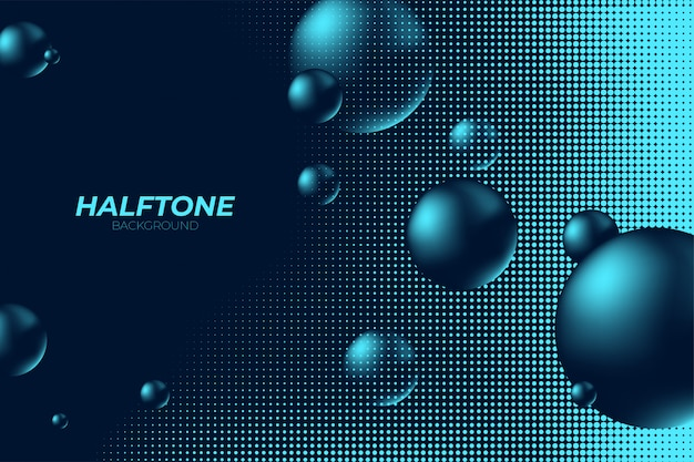 Meio-tom com bolas 3d abstrato