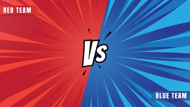 Meio-tom em quadrinhos de fundo vermelho vs azul