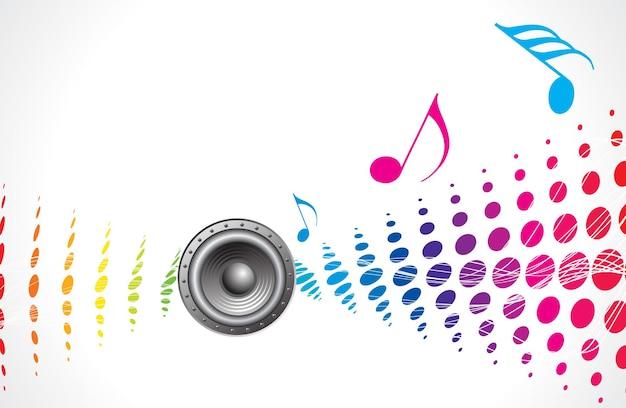 Meio-tom multicolorido de tema musical com alto-falante