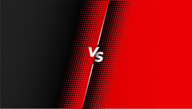 Meio-tom vermelho e preto versus design de banner vs