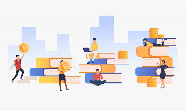 Meio urbano com pessoas, dinheiro e livros