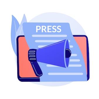 Meios de comunicação, comunicado de imprensa. publicação de jornais, notícias diárias, ideia de propaganda. tablóide com título. reportagem, elemento de design de jornalismo.