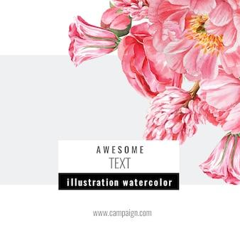 Meios de comunicação sociais primavera frame flores frescas, cartão de decoração com jardim colorido floral, casamento, convite
