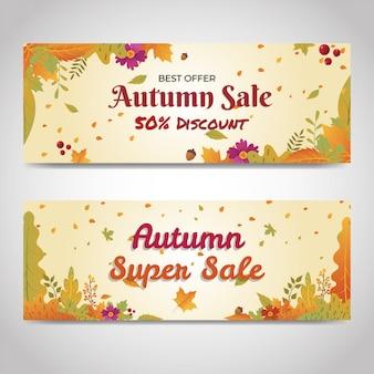 Meios de comunicação social do site de banner de venda com desconto outono
