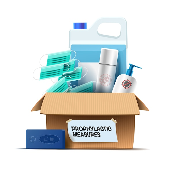 Meios de proteção contra vírus, infecções e líquidos desinfetantes e agentes anti-sépticos em uma caixa.