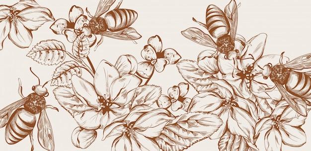 Mel abelhas e flores linha arte cartão
