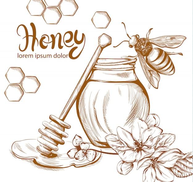 Mel, abelhas, jarro, linha arte