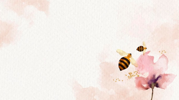 Mel de abelhas e fundo aquarela de flores