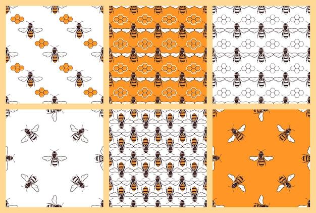 Mel e abelhas vector padrões sem emenda