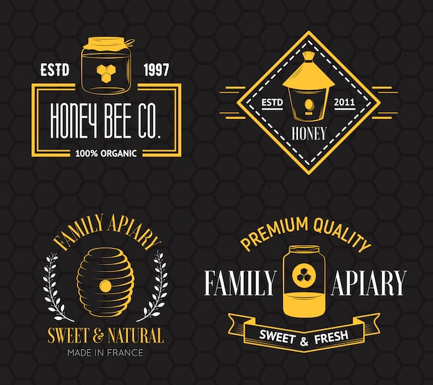 Mel e apicultura vintage logotipo conjunto