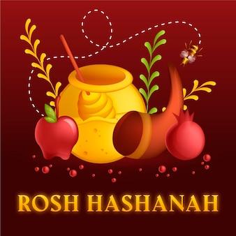 Mel e maçãs de rosh hashaná de design plano
