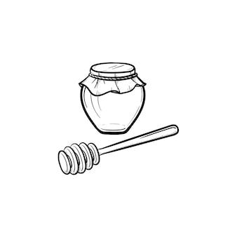 Mel em uma jarra de vidro com ícone de doodle de contorno desenhado de mão de colher de pau. frasco de vidro cheio de mel e ícone de linha de vara para infográfico, site ou aplicativo.