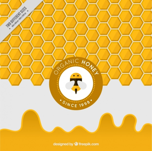 Mel hexagonal fundo amarelo