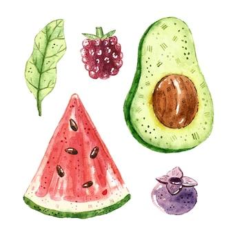 Melancia, abacate, mirtilo, framboesa, folha. clip-art de frutas tropicais, conjunto. ilustração em aquarela. alimentos saudáveis frescos crus. vegano, vegetariano. verão.