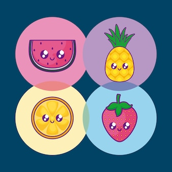 Melancia com abacaxi e conjunto de frutas