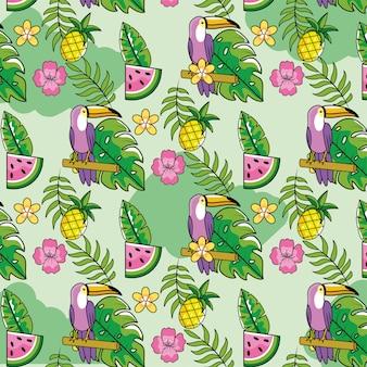 Melancia com abacaxi e plantas tropicais fundo