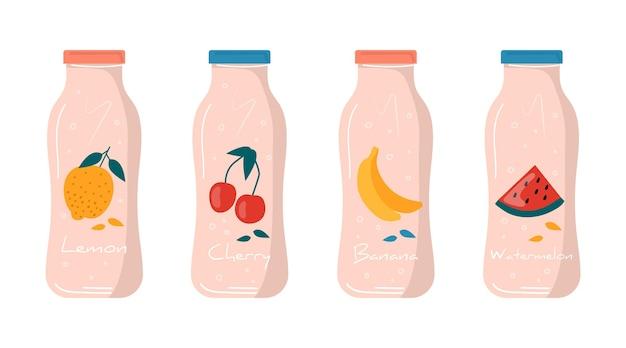 Melancia de verão, limão, banana, suco de cereja em ícone de garrafa com frutas e bagas. frutas veganas e coquetéis desintoxicantes saudáveis. bebidas, vitaminas de gelo para bar de sucos. moderno vetor.