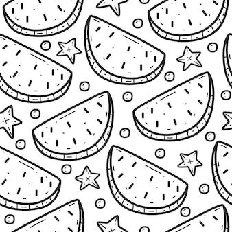 Melancia doodle padrão sem emenda de desenho animado