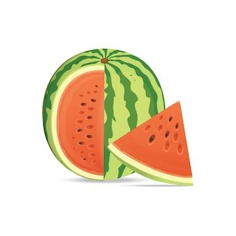 Melancia e fatias vermelhas frescas e suculentas. coma melancias de frutas tropicais.