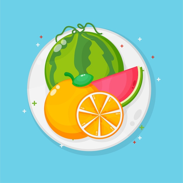 Melancia e laranjas no prato