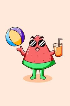 Melancia fofa com suco de laranja em ilustração de desenho animado de verão