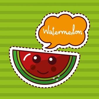 Melancia fruta kawaii alegre personagem patch design
