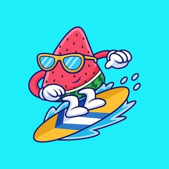 Melancia jogando surf carto. ilustração de ícone de vetor de frutas, isolada em vetor premium