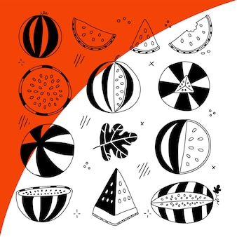 Melancia meia fatia listras conjunto preto linha frutas ilustração coleção isolado gráfico vetorial ...