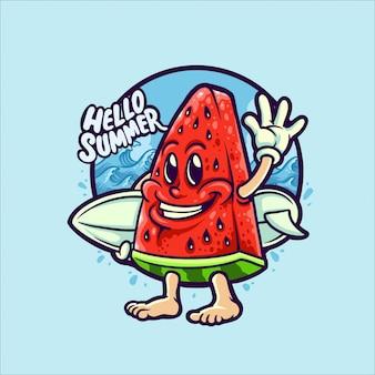 Melancia na ilustração de personagem de férias de verão