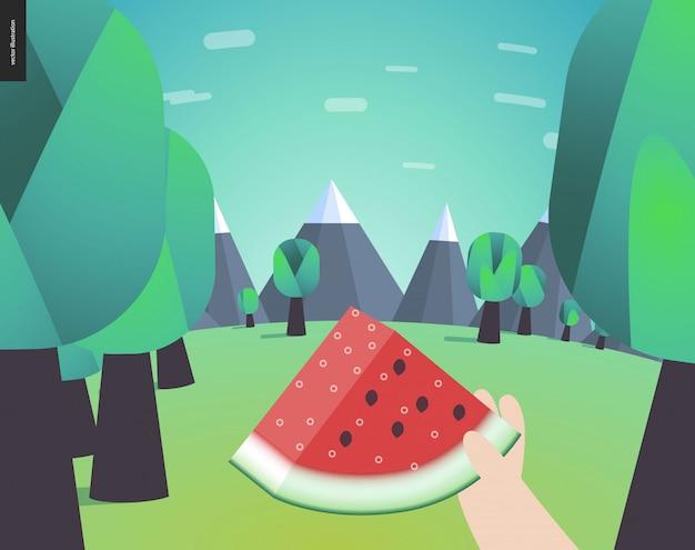 Melancia, piquenique em uma floresta