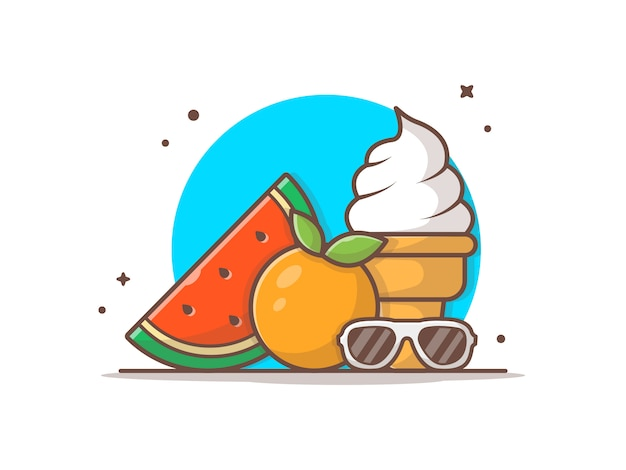 Melancia, sorvete, laranja e óculos de sol