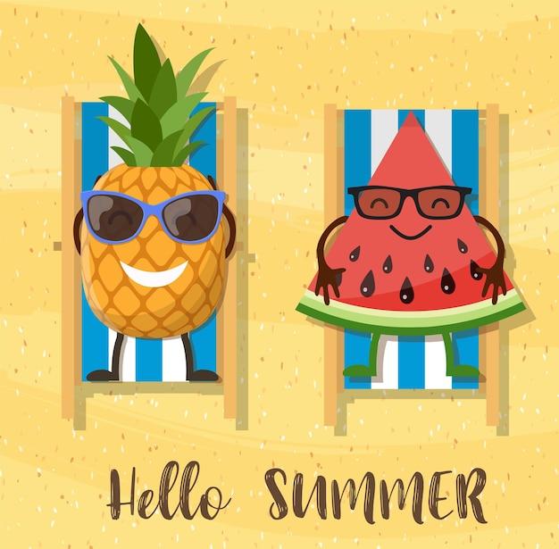 Melancias e personagem de desenho animado de abacaxi na praia.